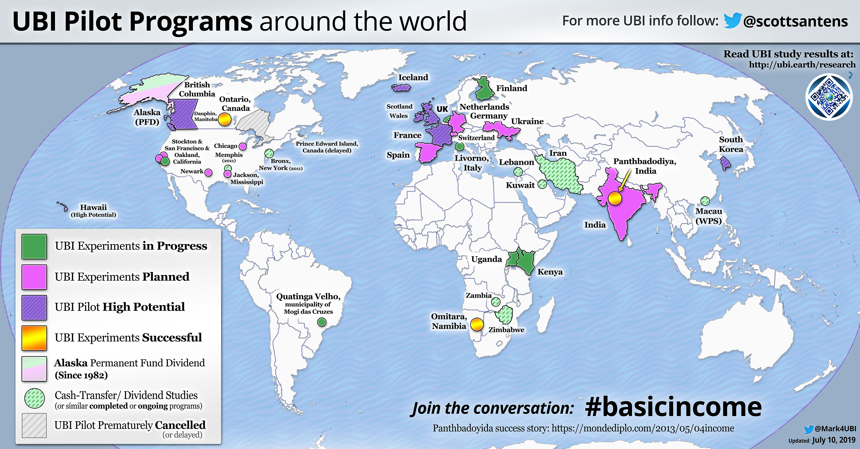 Map of UBI Studies around the world - Universal Basic Income